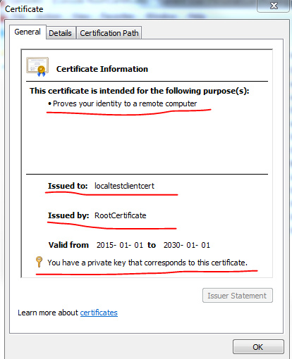 Properties of the imported client certificate