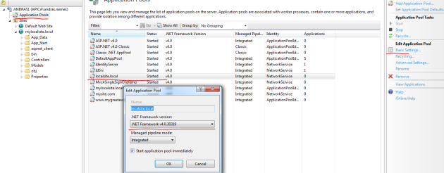Set application pool to .net 4