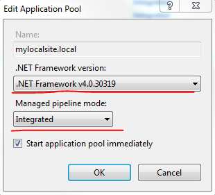 Set up application pool properties