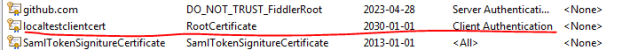 Successfully imported the test client certificate