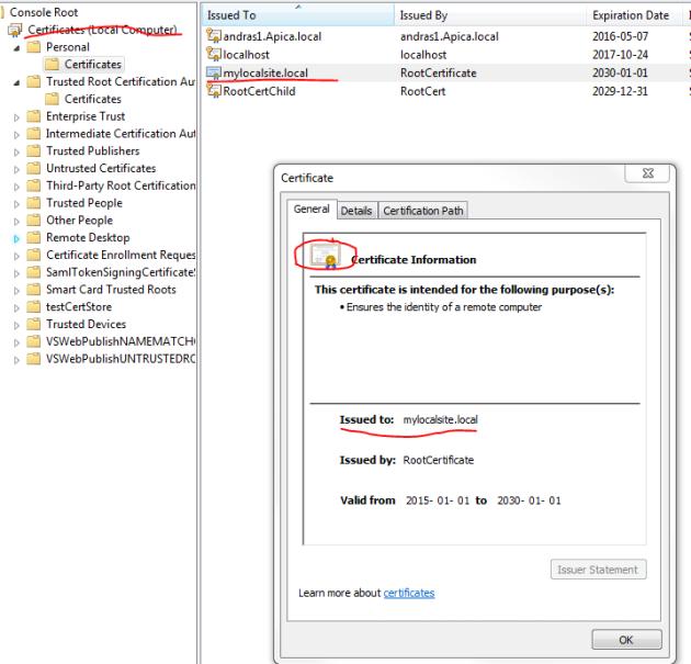 Trusted SSL certificate in certificate store