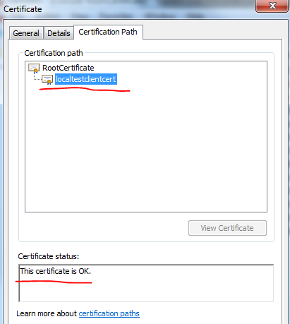 Verifying chain of trust in certificate store
