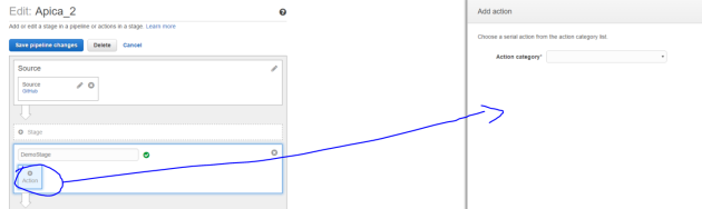 Add new action opening overlay window in CodePipeline