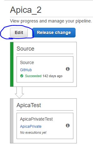 Code pipeline Edit button
