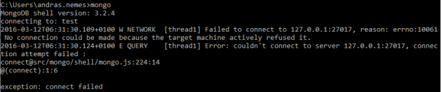 MongoDb connection failed due to no server up