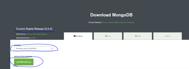 MongoDb download package