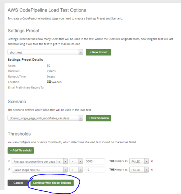 Set Apica load test properties for code pipeline