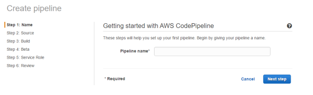 Step 1 provide name for new pipeline