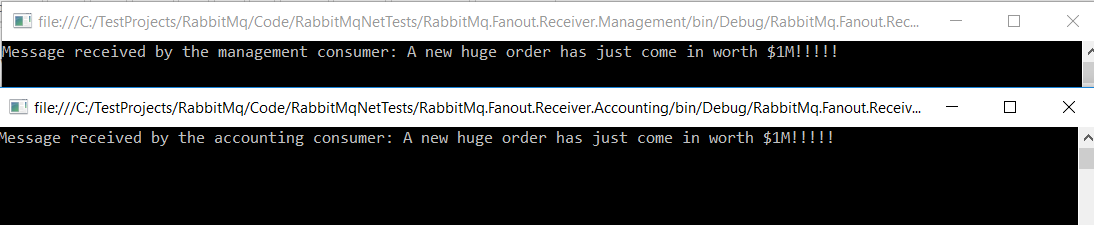 Messaging with RabbitMQ and  NET review part 6: the fanout