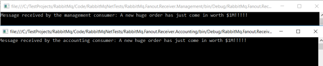 Both fanout queue consumers receive the message from the RabbitMq exchange