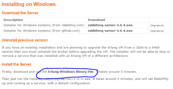 Install Erlang for RabbitMq link