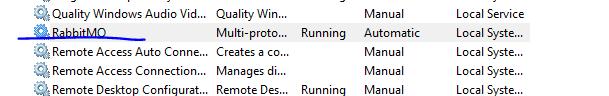 RabbitMq windows service