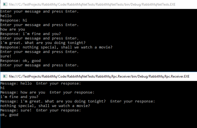 RPC messaging demo in RabbitMq