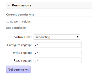 Set permissions for the new user in RabbitMq