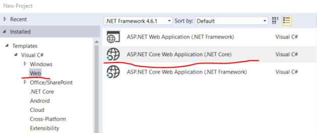 asp-net-core-web-template-targeting-the-net-core-framework-in-visual-studio