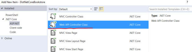 Add a new Web API controller to a .NET Core project