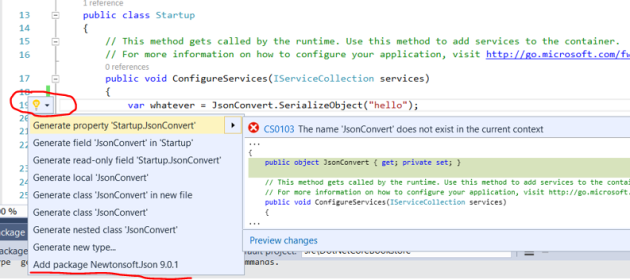 Adding a new library to .NET Core using IntelliSense in Visual Studio