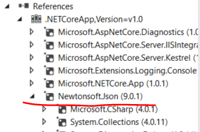 Library through NuGet has been added to the references list in .NET Core