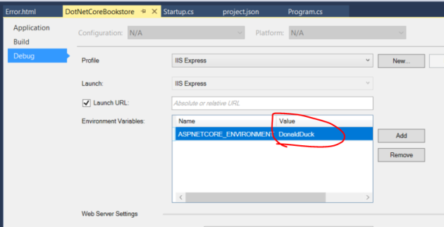 Set a custom environment name for .NET Core project in visual studio