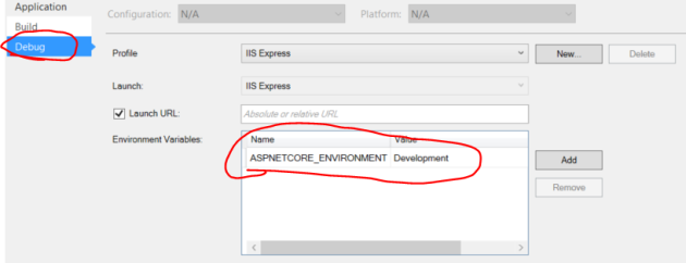 Setting the environment for an ASP.NET application in Visual Studio