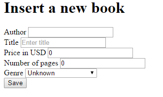 Book insertion form with Display data annotation in .NET Core project