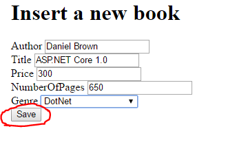 Create a new book in a form in .NET Core web application