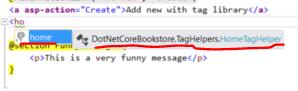 Home custom tag helper appearing in .NET Core MVC project editor