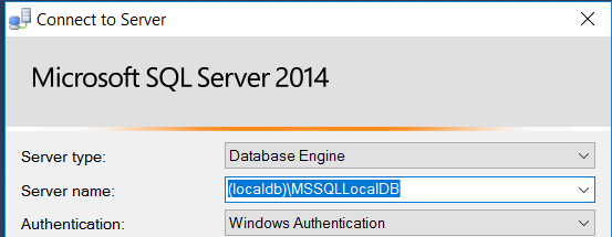 Connecting to local db using MS SQL management studio in .NET Core MVC demo project