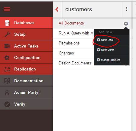 Create new document button in CouchDB Fauxton UI