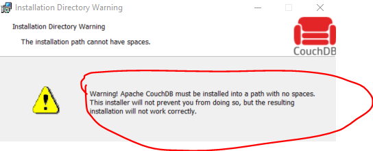 Installation warning to avoid spaces in path for CouchDb directory