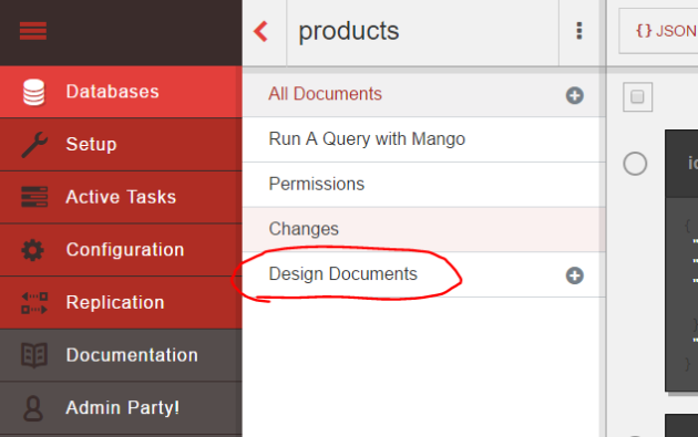 Link to design documents in Fauxton CouchDB UI