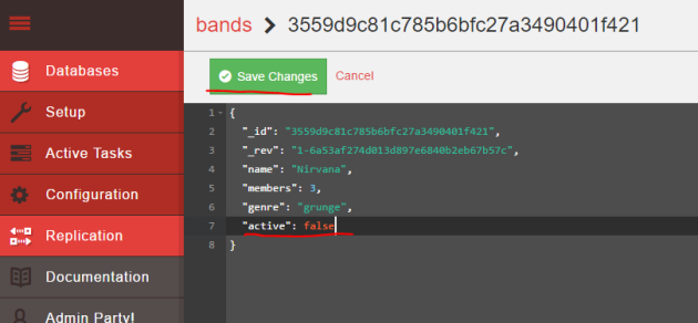 Set a band to inactive in CouchDB Fauxton UI