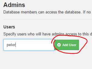 Add new database admin in Fauxton UI CouchDB