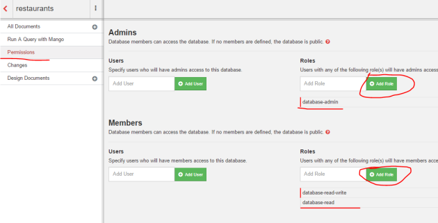 Add role based permissions to a database in Fauxton UI CouchDB