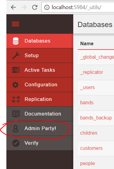 Admin party link in Fauxton UI of CouchDB