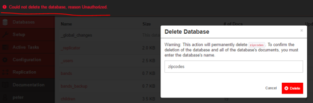 Cannot delete database despite being admin Fauxton UI CouchDB