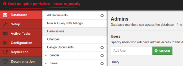 Failed to add new database admin as default user in Fauxton UI CouchDB