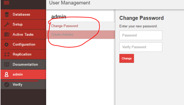Logged in as administrator in CouchDB Fauxton UI