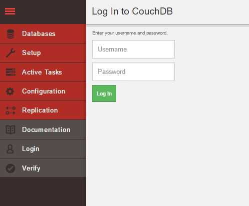 Login screen of CouchDB Fauxton UI