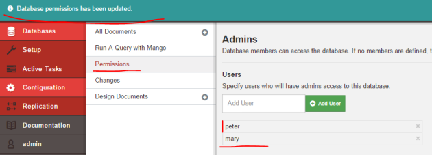 Managed to add a new database admin in Fauxton UI CouchDB