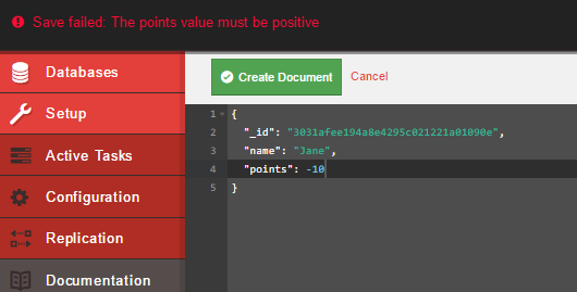 No negative values are allowed due to validation function in CouchDB
