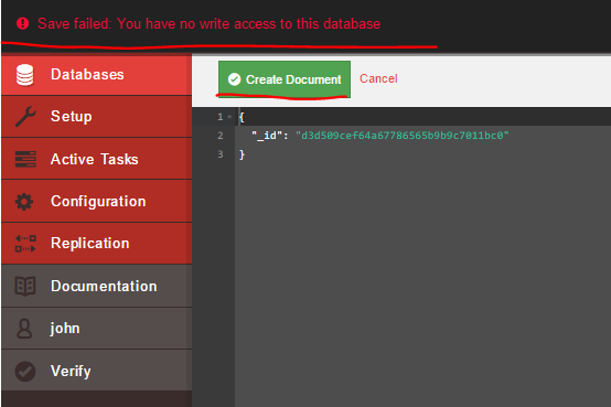 Testing read only access of user in Fauxton UI CouchDB