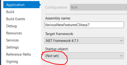 Async main function not selectable in visual studio c sharp 7