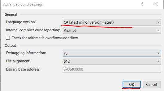 Change C sharp language version to latest minor