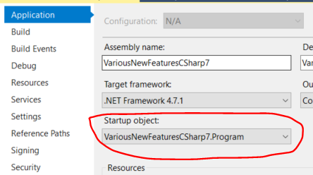 Selecting the Main method startup object in visual studio